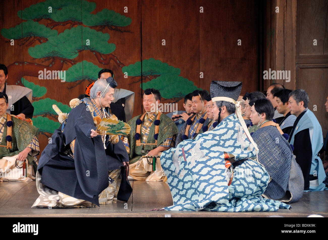No play, famous traditional dance theater in a Shinto shrine in Sasayama, Japan, Asia - Stock Image