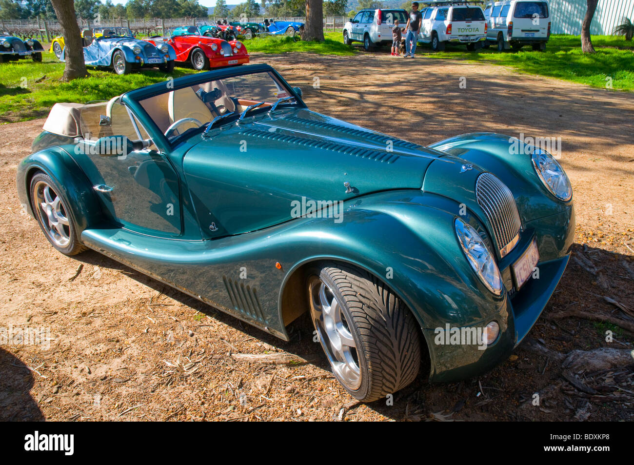 A metallic green Morgan Aero 8 sports car - Stock Image