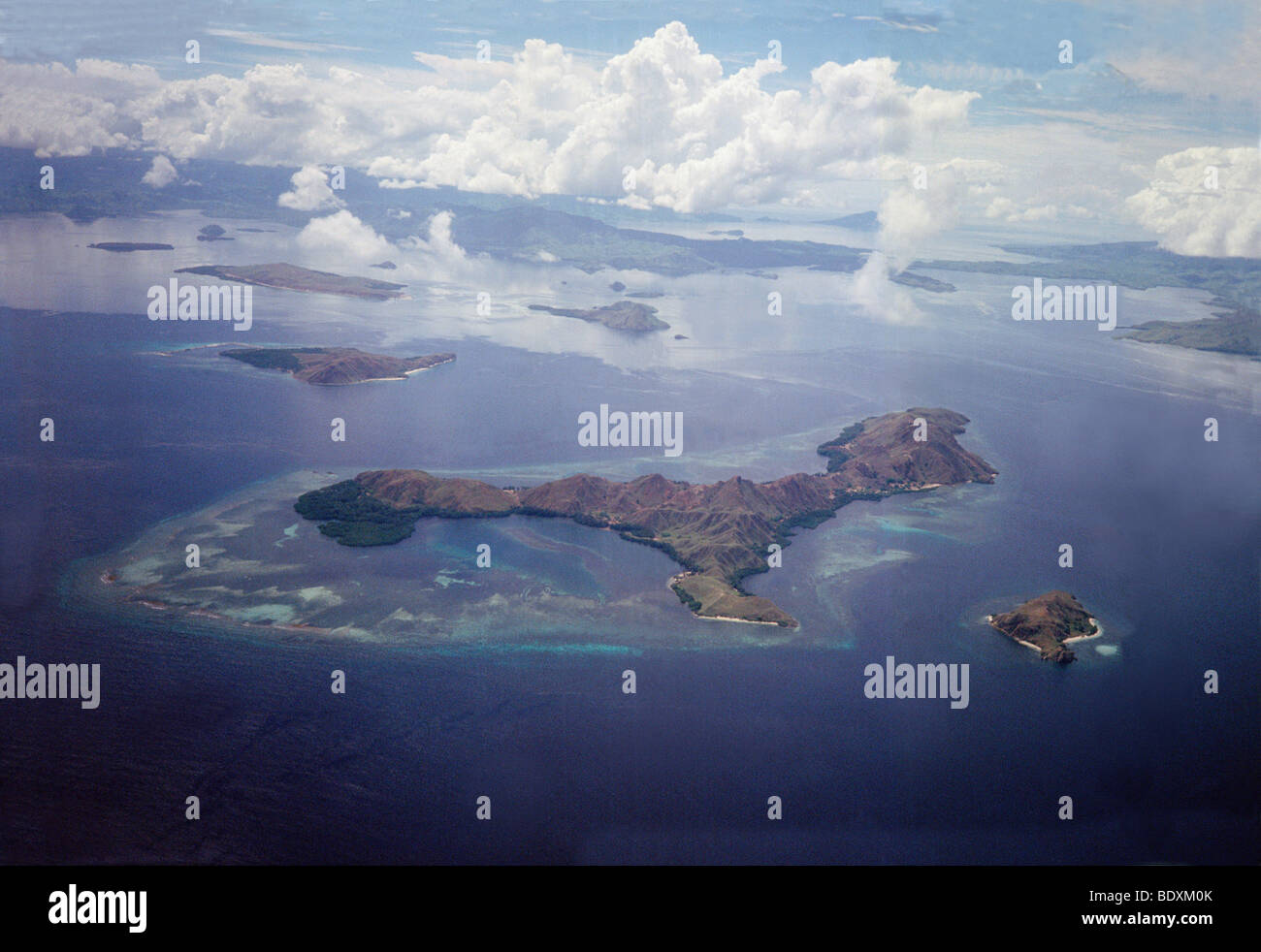 aerial view ,aerien,aerial,vue aerienne ,Komodo Island Komodo National Park Indonesia Indian Ocean Komodo National - Stock Image