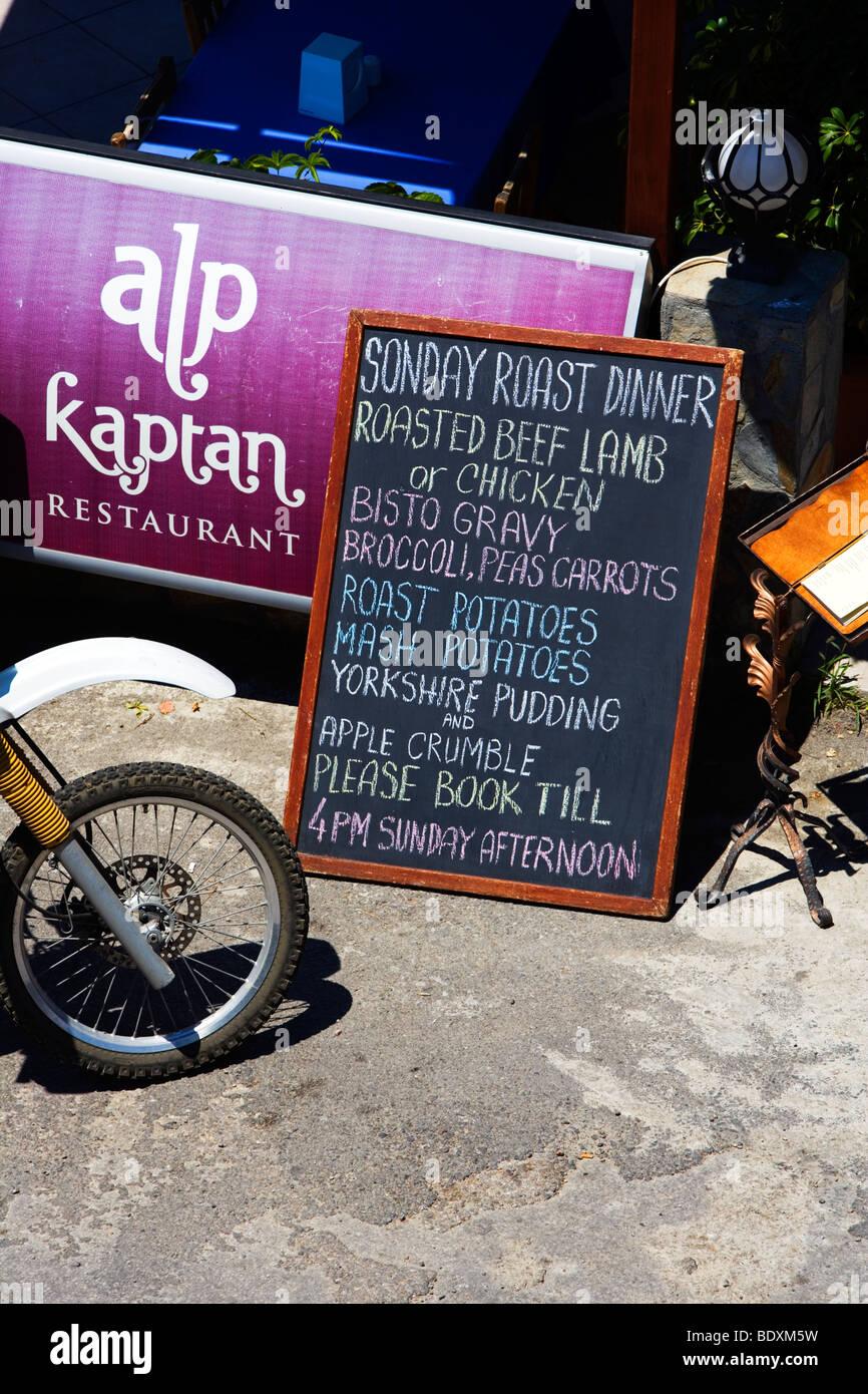 Alp Restaurant, English & Turkish menu, Bodrum, Turkey, Asia Minor, Eurasia - Stock Image