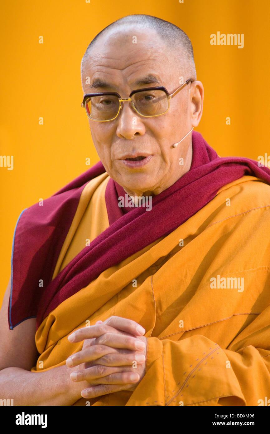His Holiness the 14th Dalai Llama, Tenzin Giatso, Commerzbank Arena venue, Frankfurt am Main, Hesse, Germany, Europe - Stock Image