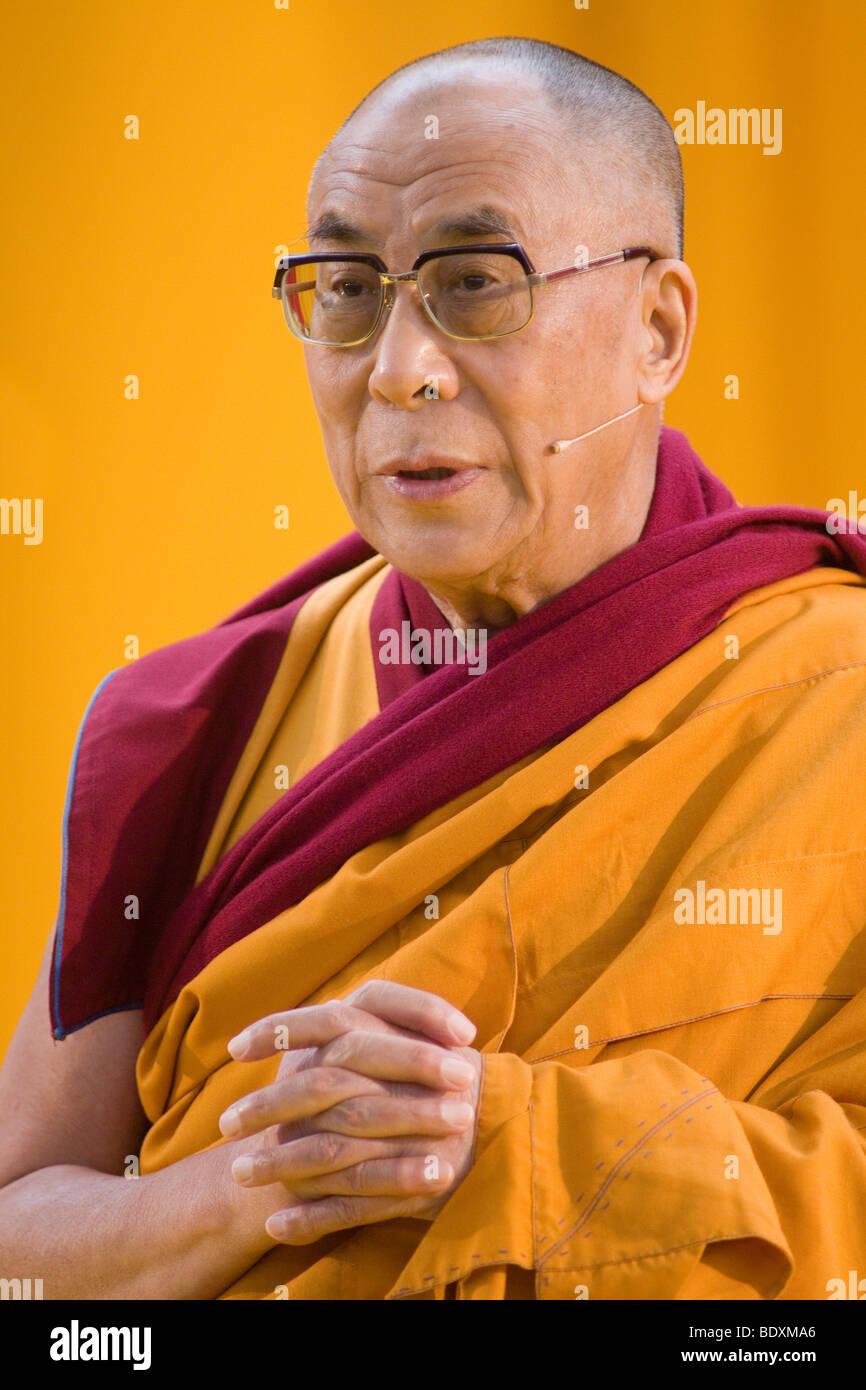 His Holiness the 14th Dalai Llama, Tenzin Giatso, Commerzbank Arena venue, Frankfurt am Main, Hesse, Germany, Europe Stock Photo