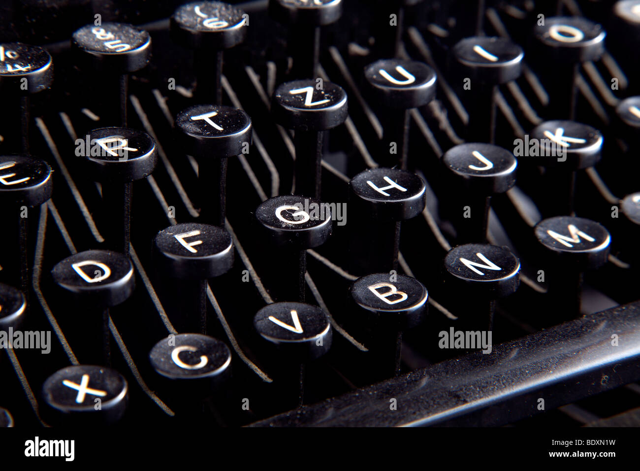 Keyboard of a dusty antique typewriter - Stock Image