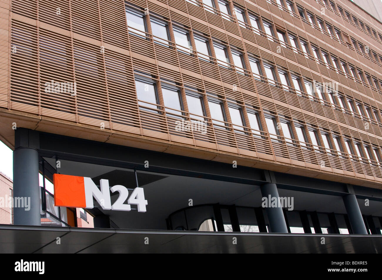 Office building of the television station N24 at the Potsdamer Platz square in Berlin, Germany, Europe - Stock Image