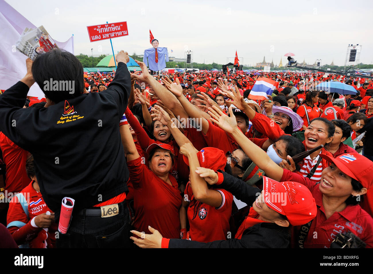 Red shirt or the pro-Thaksin United front for Democracy against Dictatorship (UDD) rally at SanamLuang Bangkok Thailand. - Stock Image