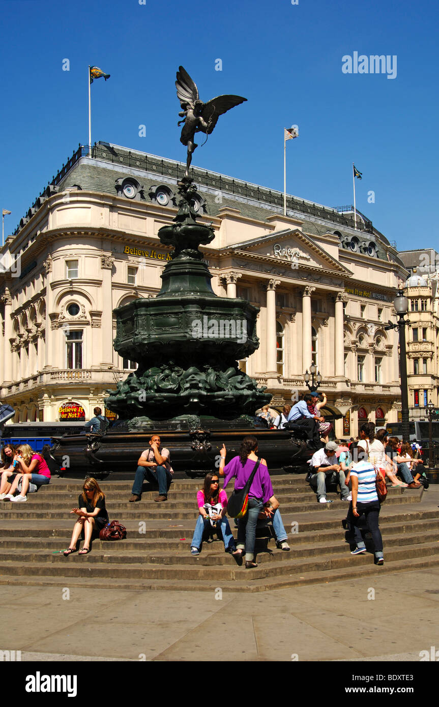 Piccadilly Circus square with the Shaftesbury memorial fountain and statue of Anteros by Alfred Gilbert, London, - Stock Image