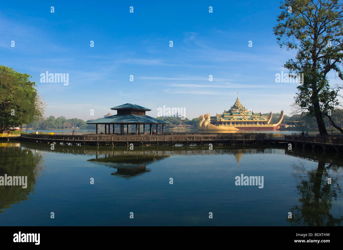 Karaweik restaurant, dragon boat, Kandawgyi Lake, Rangoon, Yangon, Burma, Myanmar, Asia Stock Photo