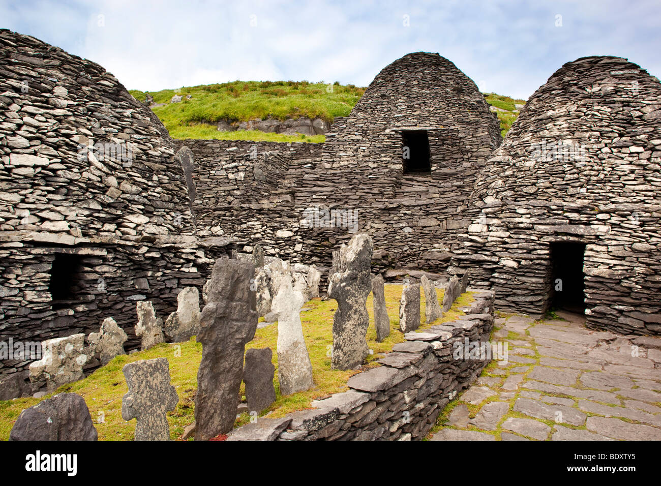 michael skellig; ireland; beehive huts from former monastery - Stock Image