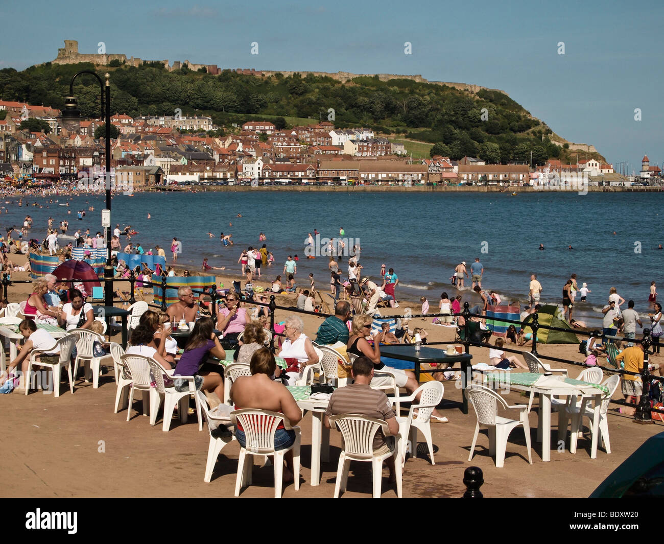 Scarborough South Bay and Castle in high summer - Stock Image