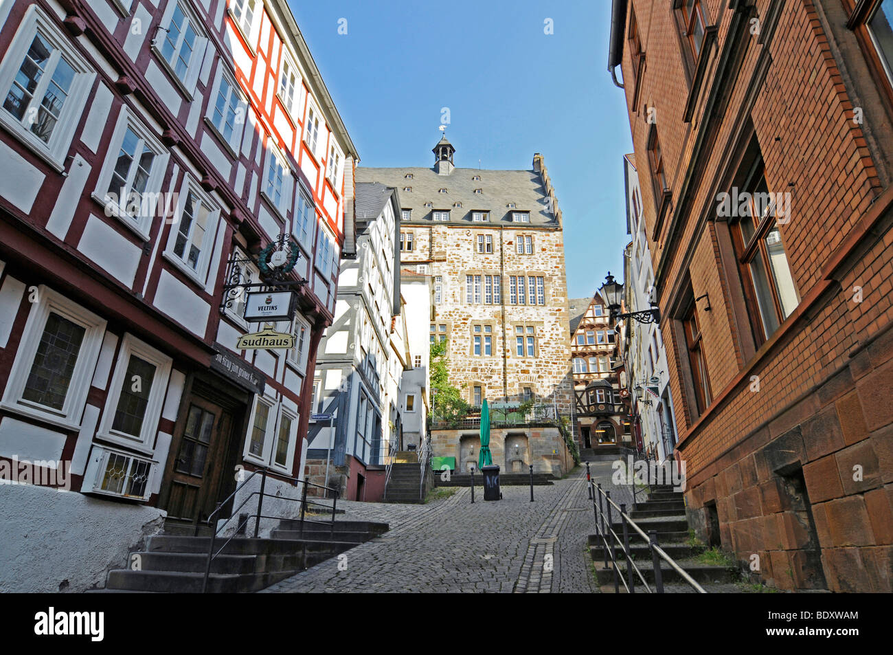Steile Strasse street, historic half-timbered houses, historic centre, Marburg, Hesse, Germany, Europe Stock Photo