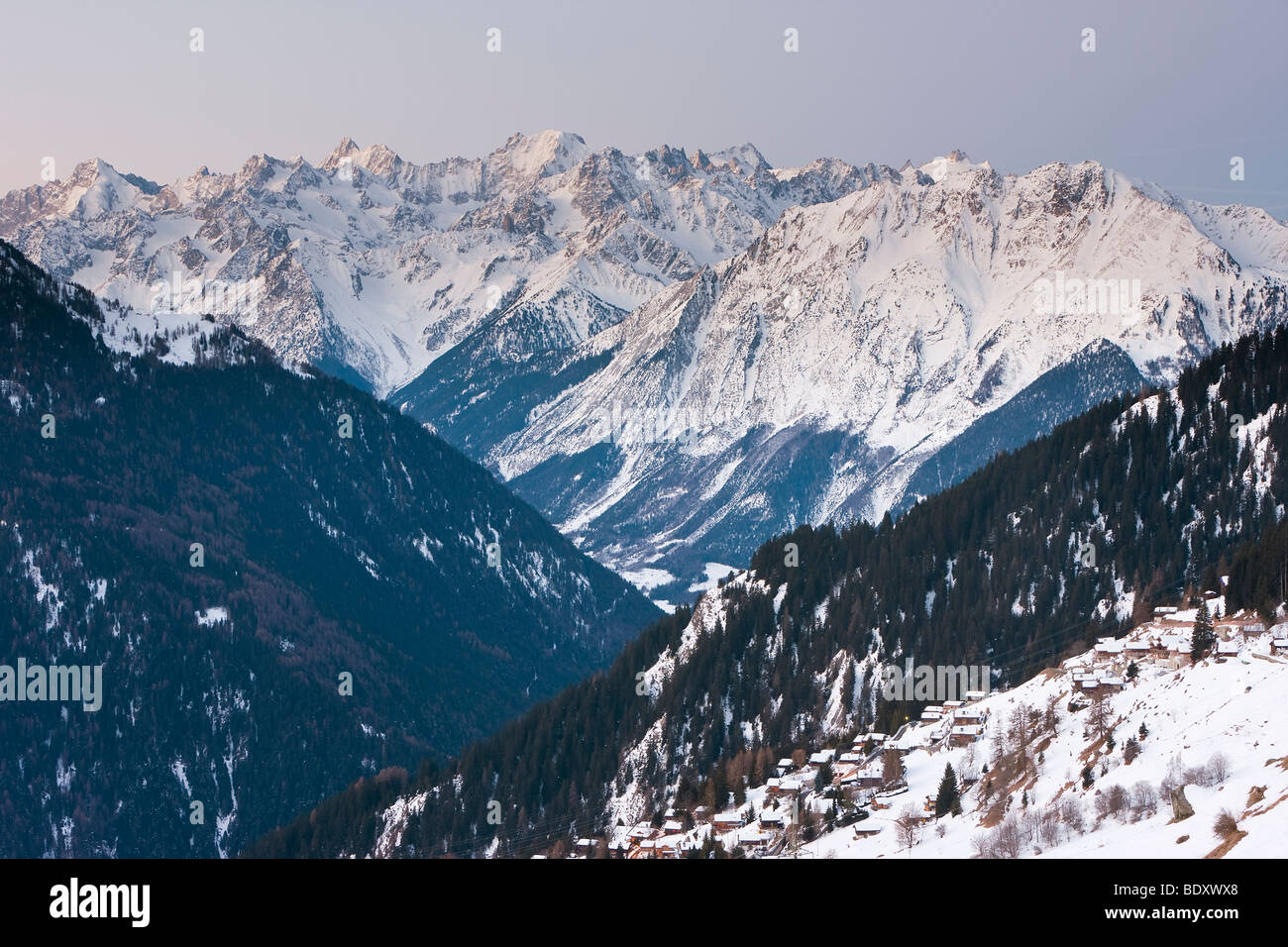 Verbier, Valais, Four Valleys region, Bernese Alps, Switzerland - Stock Image
