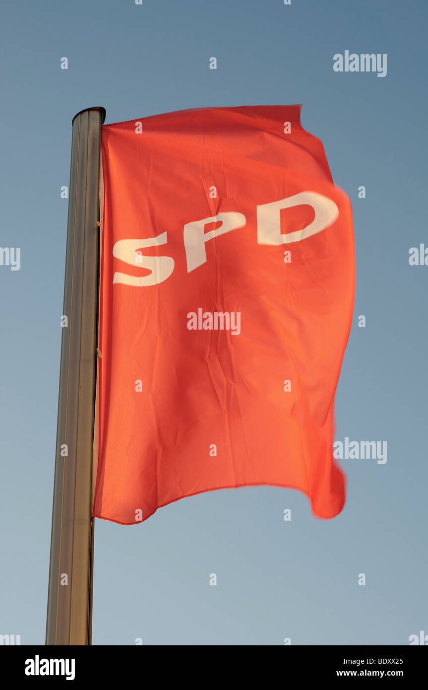 Flag of the SPD, the Social Democratic Party of Germany - Stock Image