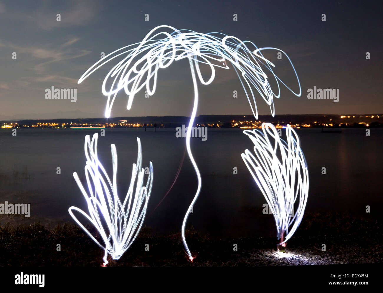 Light painting on the shores of Lake Constance, Baden-Wuerttemberg, Germany, Europe - Stock Image
