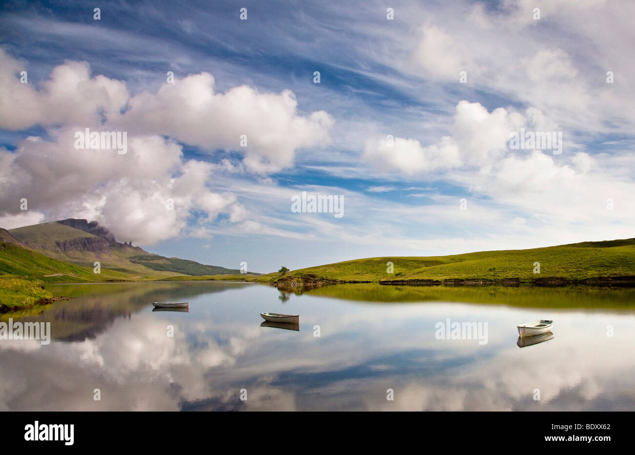 Loch Fada, in the back the Old Man of Storr mountain, Isle of Skye, Scotland, UK, Europe Stock Photo