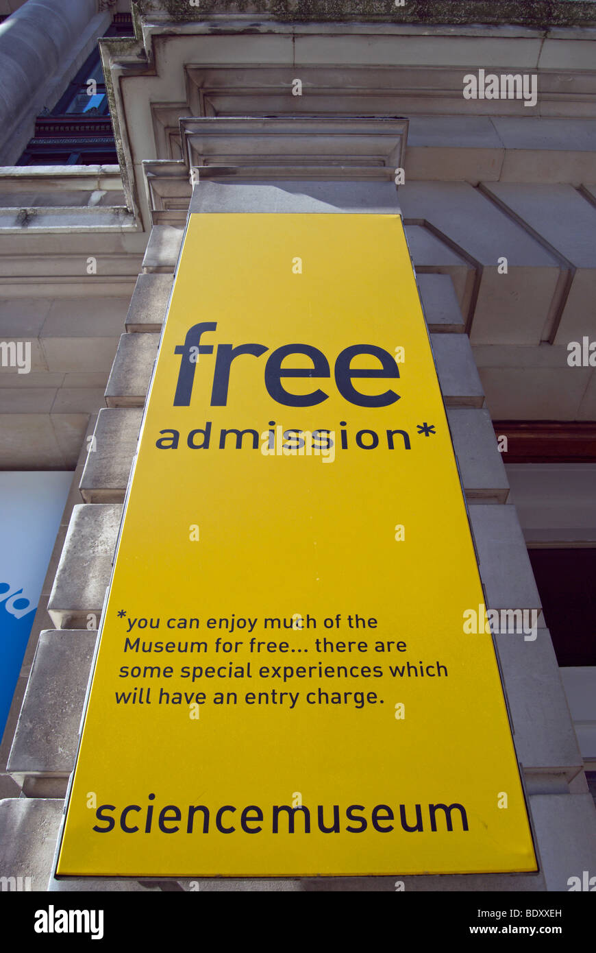 free admission banner at the london science museum, noting some exhibitions require separate admission charge - Stock Image