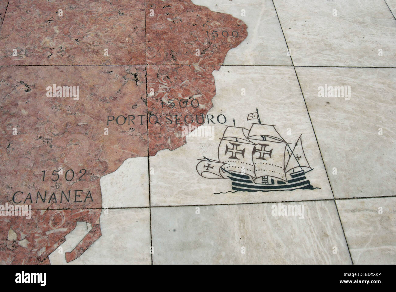 Discovery of Brazil in 1500 by the Portuguese, detail of a giant world map at the foot of the Monument to the Discoveries, - Stock Image