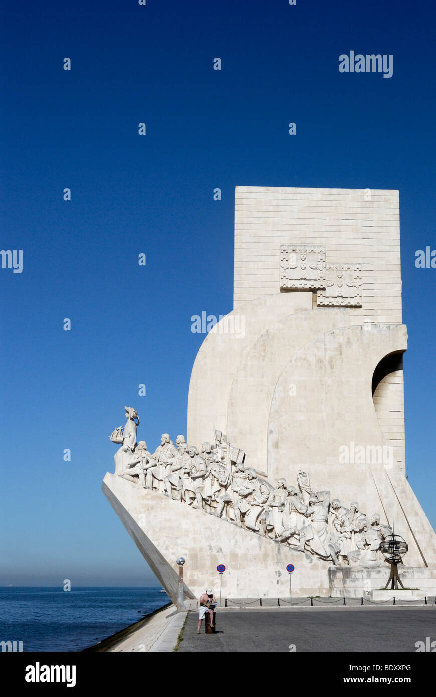 Monument to the Discoveries, Padrao dos Descobrimentos, with great people of the Portuguese seafaring history, on - Stock Image