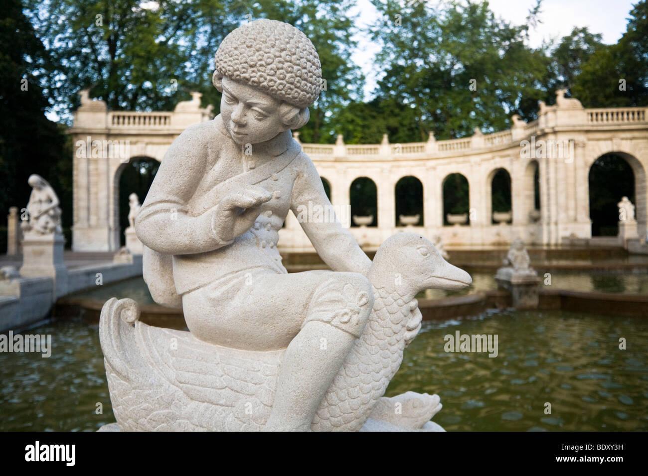 Hansel from Hansel and Gretel, fairytale fountain, Volkspark am Friedrichshain, Friedrichshain, Berlin, Germany, - Stock Image