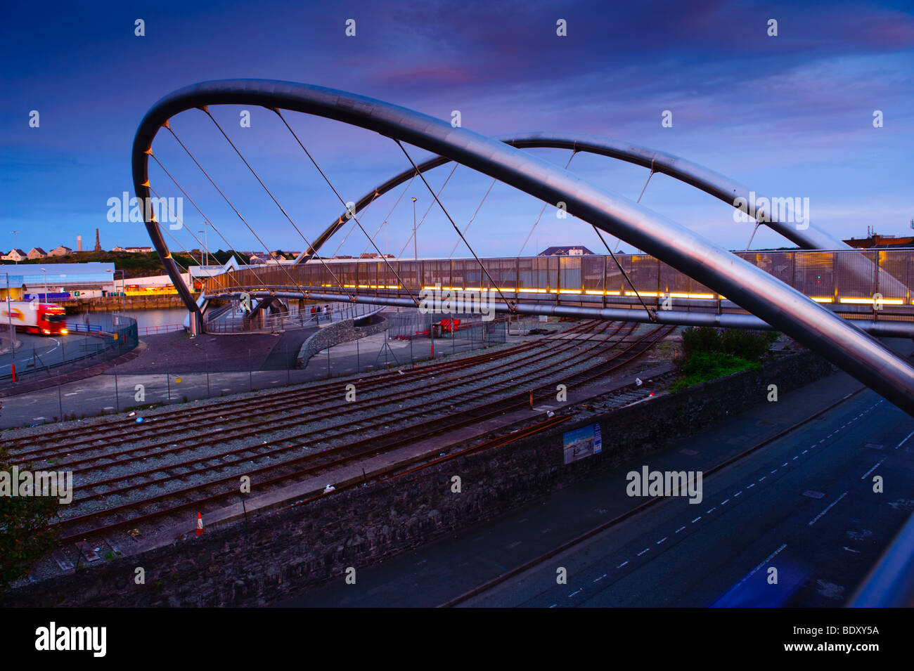 The Celtic Gateway footbridge connecting Holyhead with the railway station, Anglesey north Wales UK - Stock Image