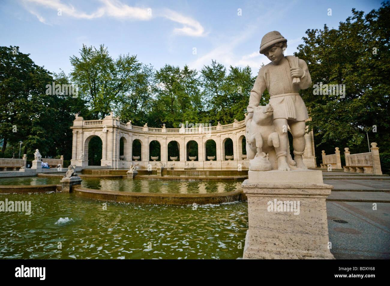 Hans im Glueck, Lucky Hans, fairytale fountain Volkspark am Friedrichshain, Friedrichshain, Berlin, Germany, Europe - Stock Image