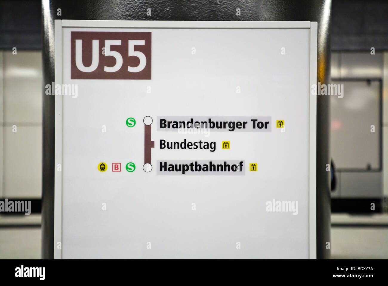 The shortest metro in Germany, U55, 'Chancellor-metro', Mitte, Berlin, Germany, Europe - Stock Image
