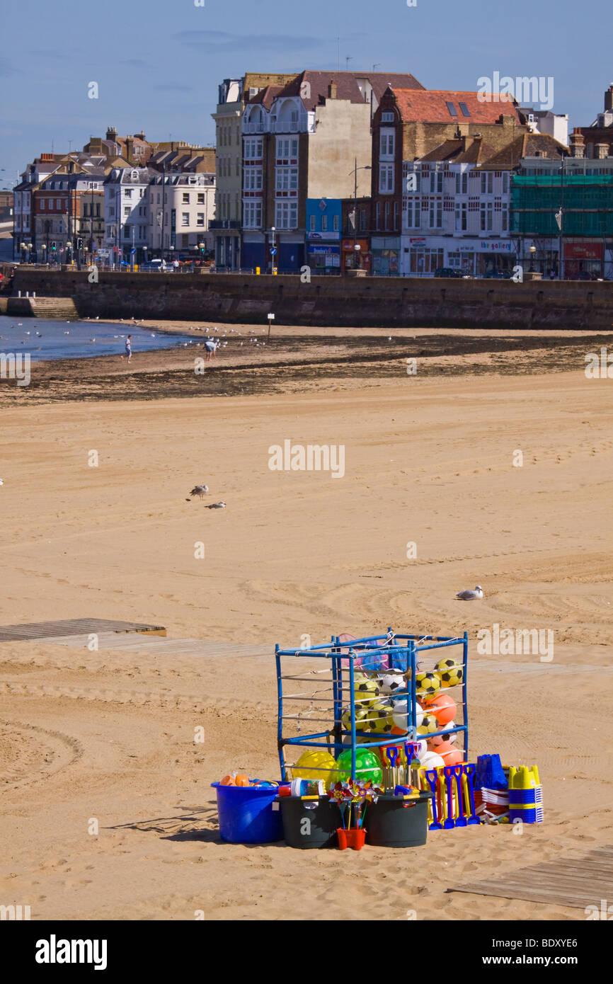 Margate Beach and Beachballs - Stock Image