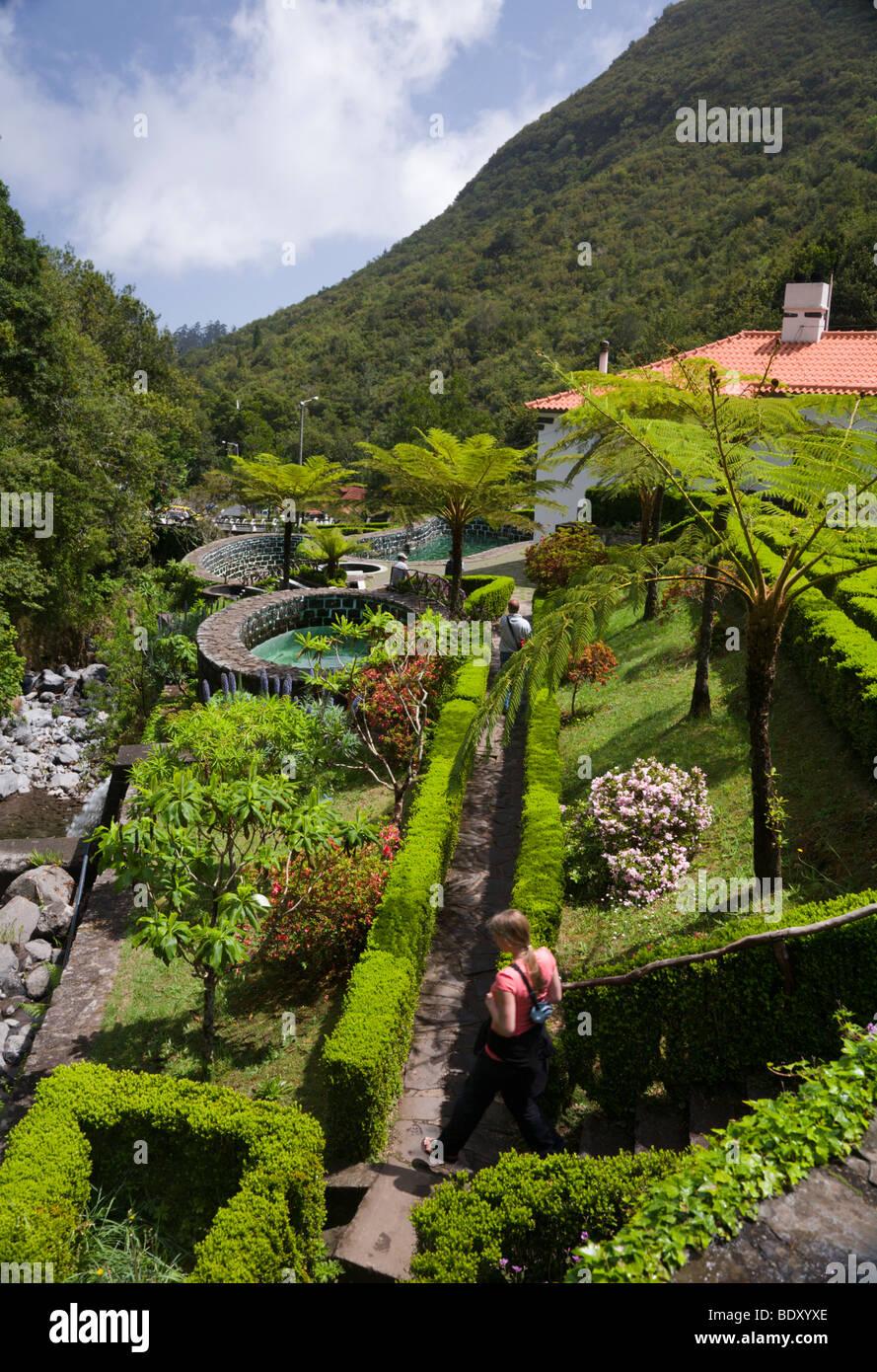 Botanical gardens at the trout farm in Ribeiro Frio, Madeira. - Stock Image