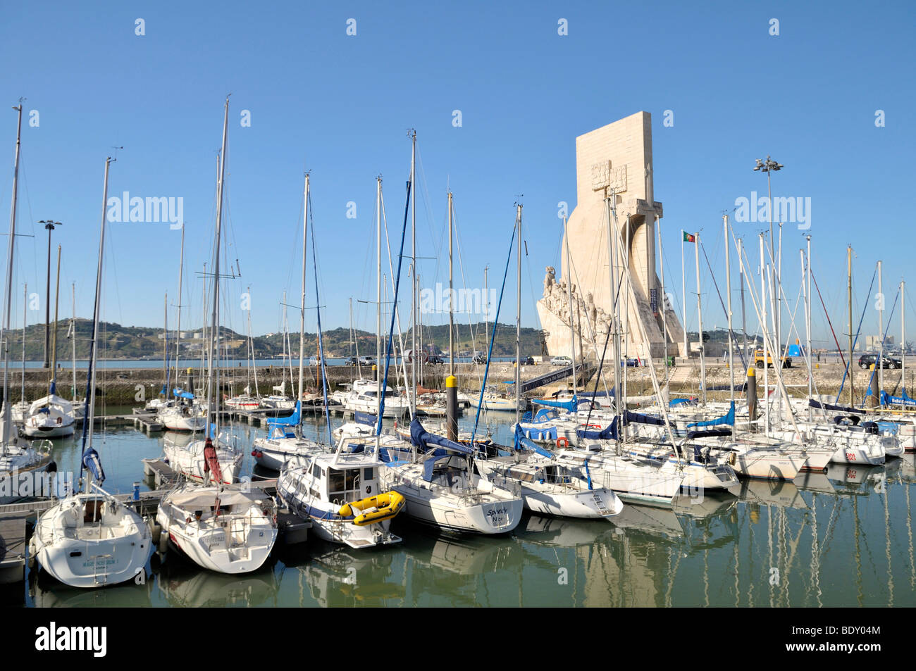 Marina and Monument to the Discoveries, Padrao dos Descobrimentos, with great people of the Portuguese seafaring - Stock Image