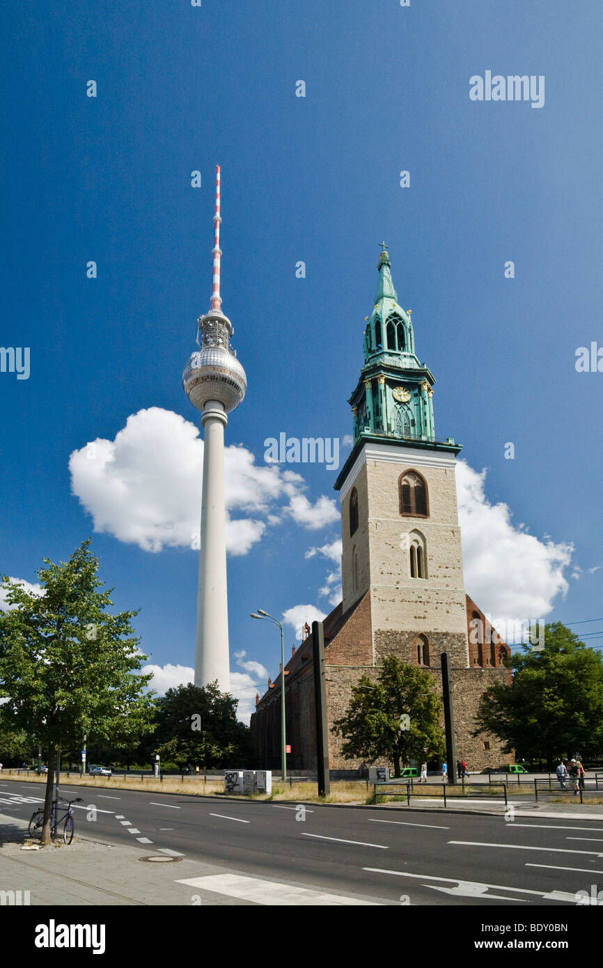 TV tower and Marienkirche, St. Mary's Church, Karl-Liebknecht-Strasse, Mitte, Berlin, Germany, Europe - Stock Image