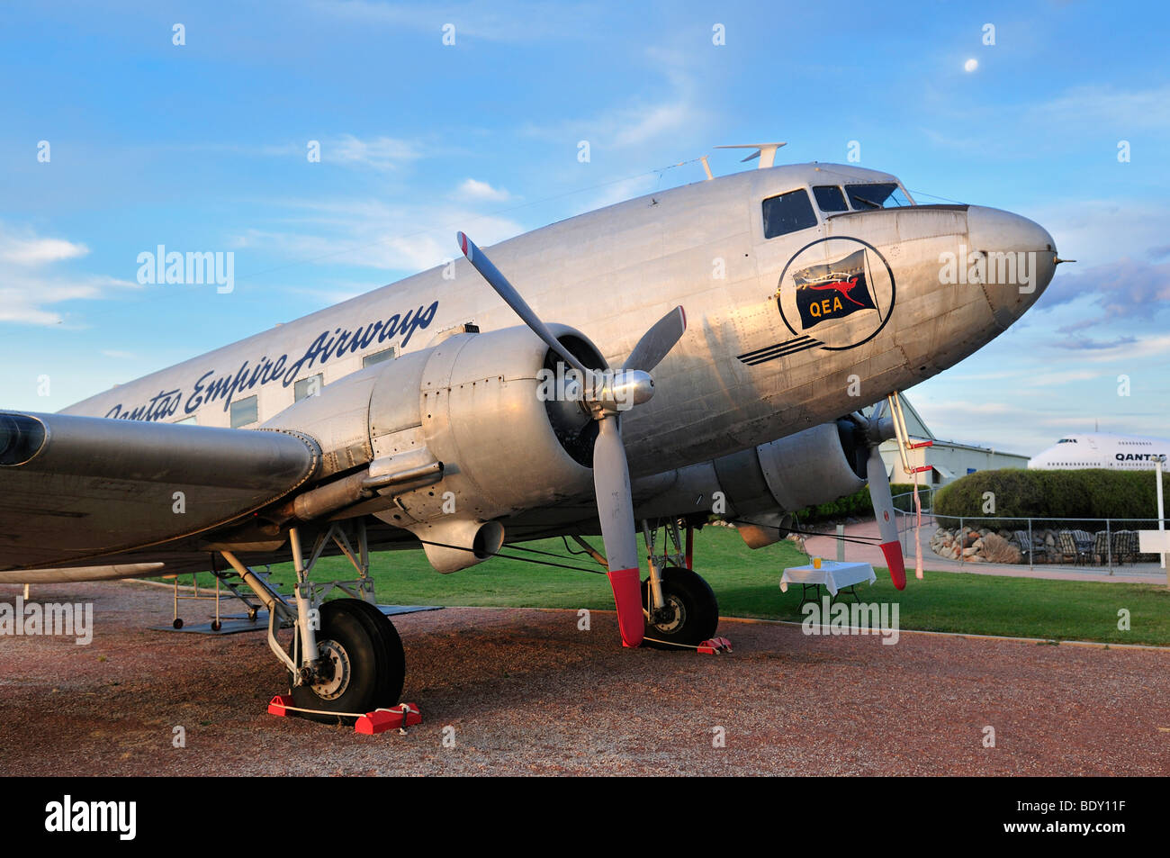 Historic DC 8 airplane at Qantas Founders Museum, Longreach, Queensland Outback, Australia - Stock Image