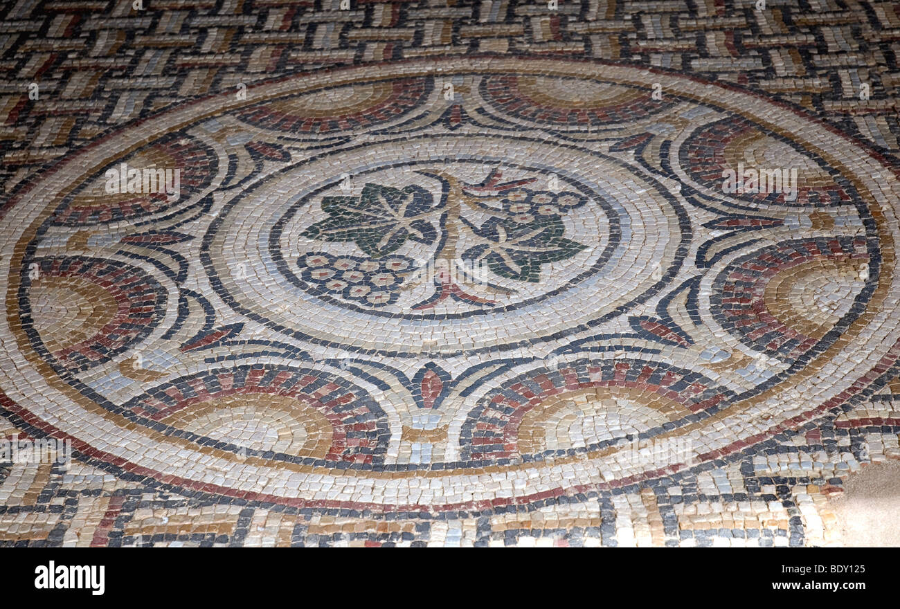 Ruins of a 4th-5th century Gallo-Roman villa in Séviac in France's Gers include some 30 polychrome mosaics - Stock Image