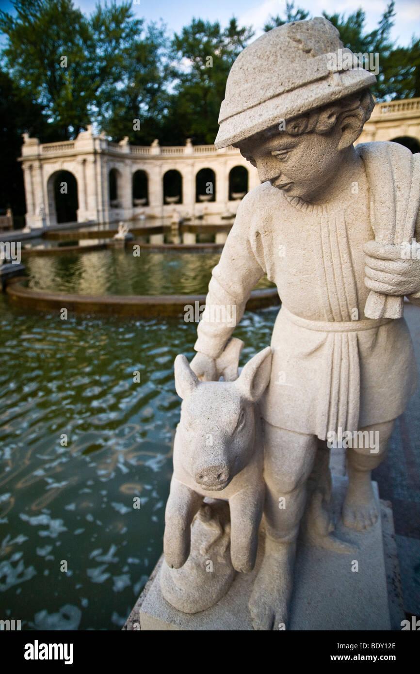 Hans im Glueck or Lucky Hans, figure of the Fairytale Fountain, Volkspark, Friedrichshain, Berlin, Germany, Europe - Stock Image