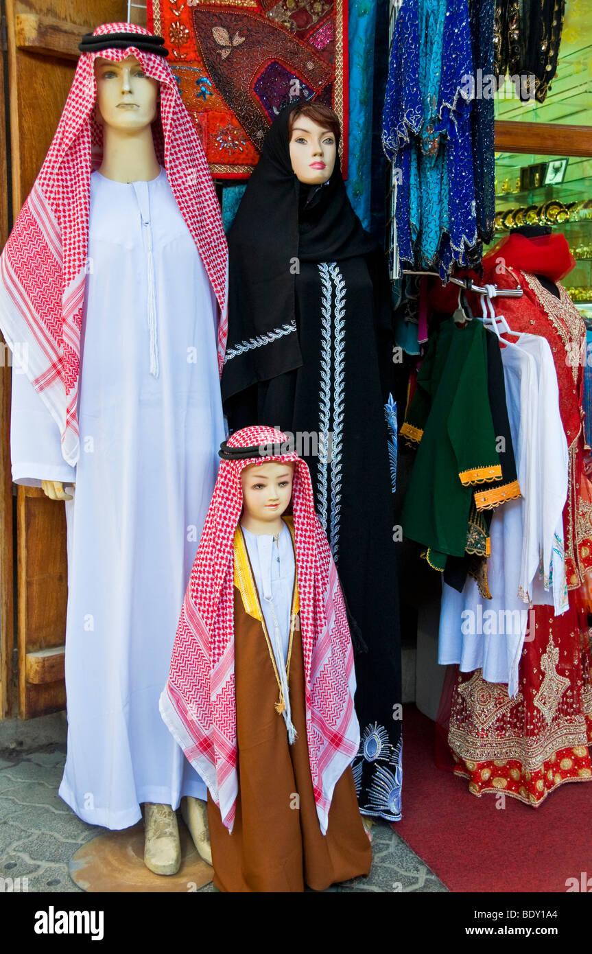 Shop selling local outfits Bur Dubai - Stock Image