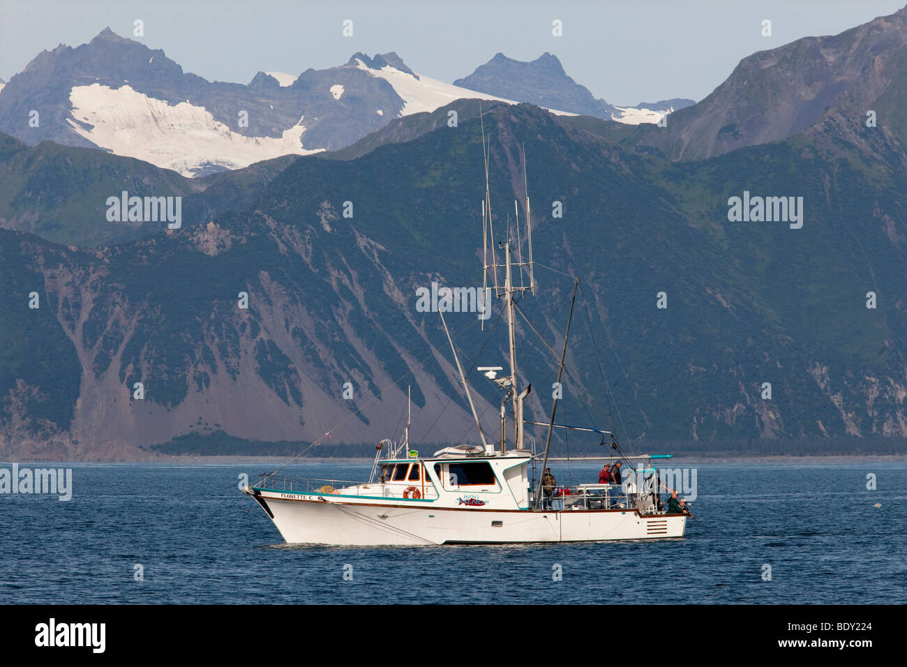 Seward, Alaska - A sport fishing boat in Resurrection Bay. Stock Photo