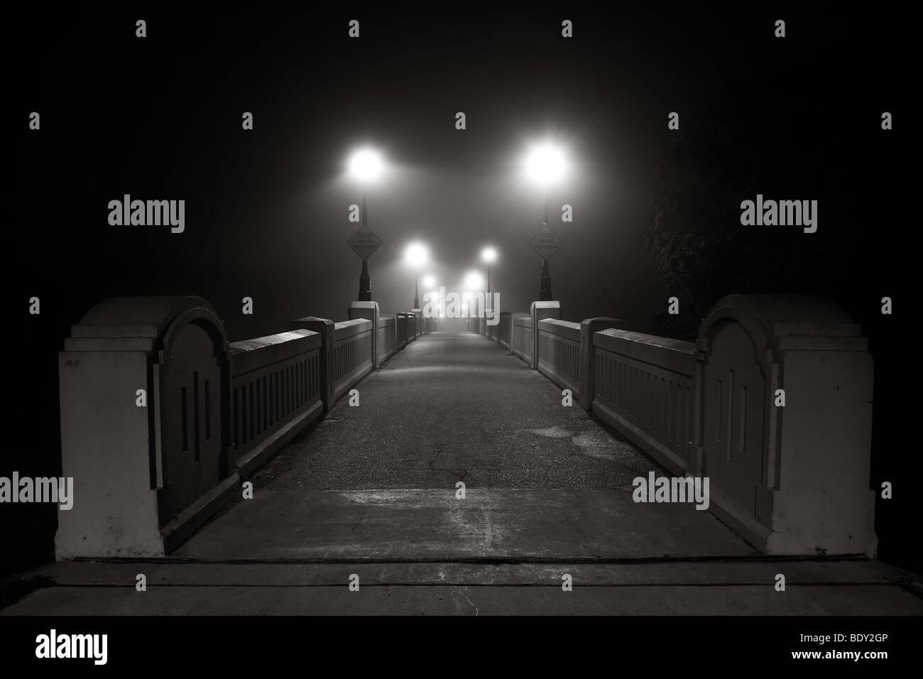 Deserted Assiniboine Park footbridge on a foggy night.  Winnipeg, Manitoba, Canada. Stock Photo