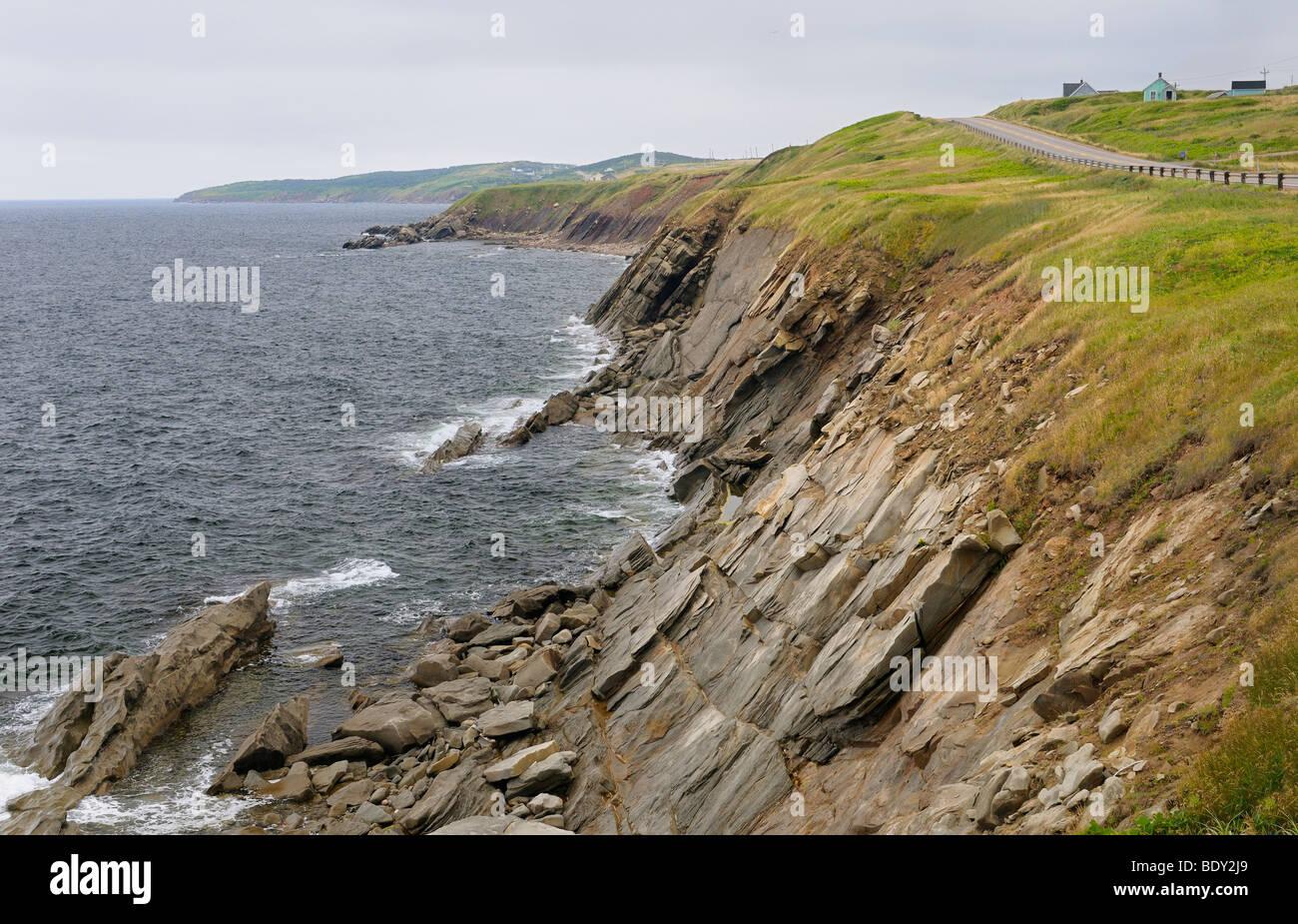 Coastal Cabot Trail road on the Gulf of St Lawrence Cape Breton Island Nova Scotia - Stock Image