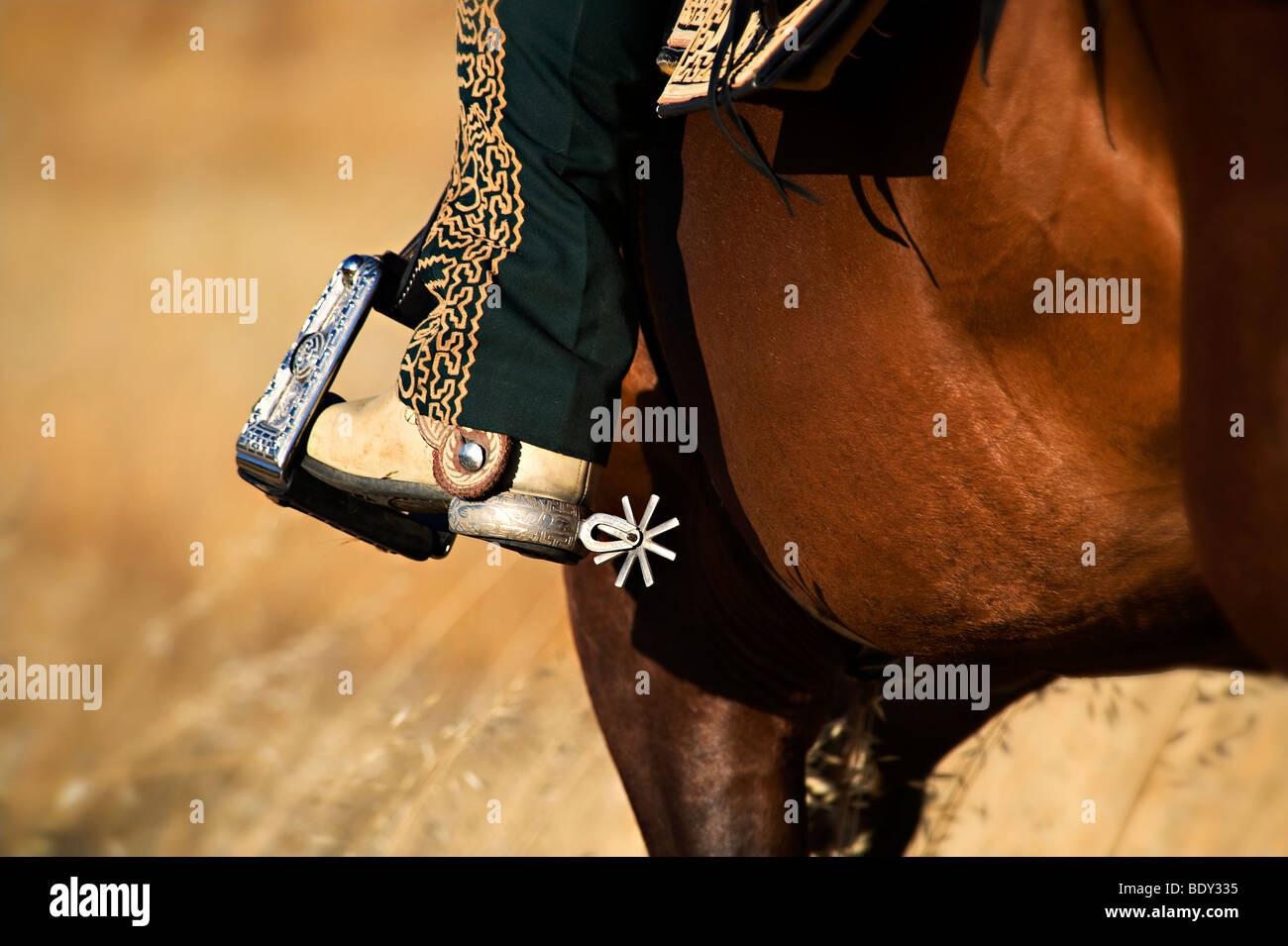 Charro Rider's Spur and Boot Detail on Horseback - Stock Image