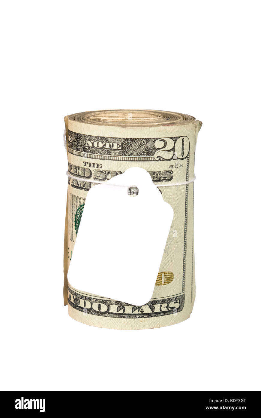 A roll of cash with a blank price tag - Stock Image