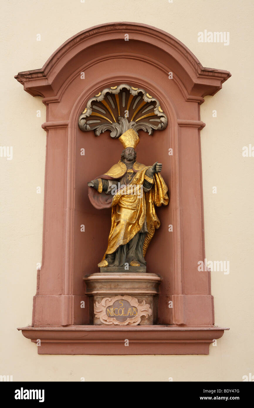 Statue of St. Nicolaus in Trier, Rhineland-Palatinate, Germany, Europe Stock Photo
