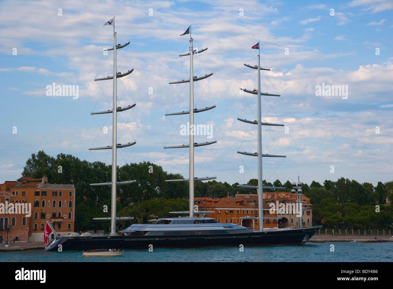 Motor yacht at Bacino di San Marco, Venice, Italy, Europe - Stock Image