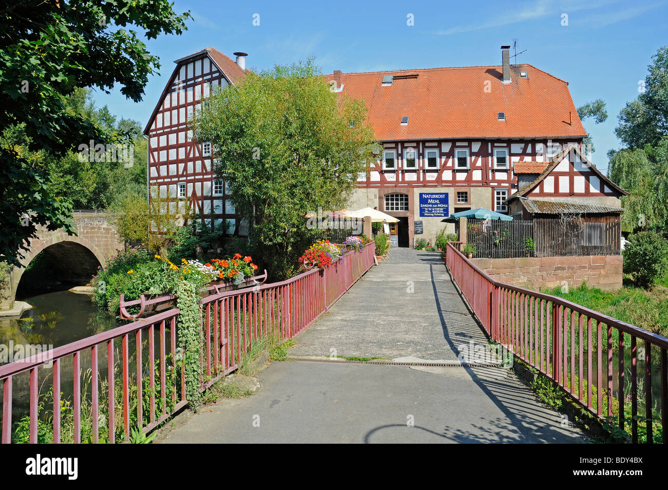 Historic half-timbered house, Bruecker mill, water mill, Amoeneburg, Kassel, Hesse, Germany, Europe - Stock Image