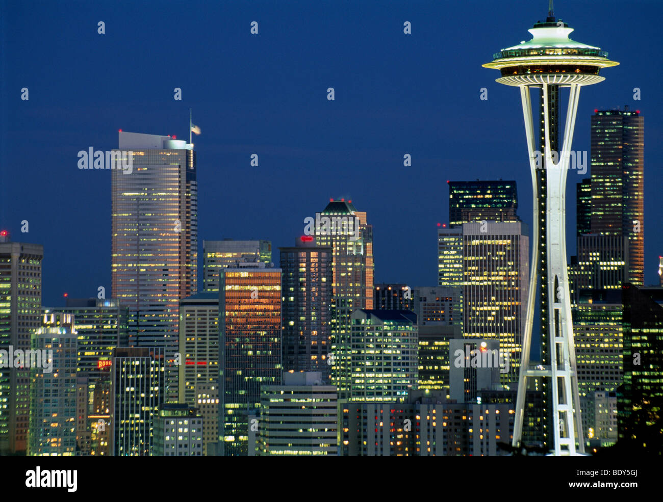 Skyline of Seattle, the Space Needle right, at night, Seattle, Washington, USA - Stock Image