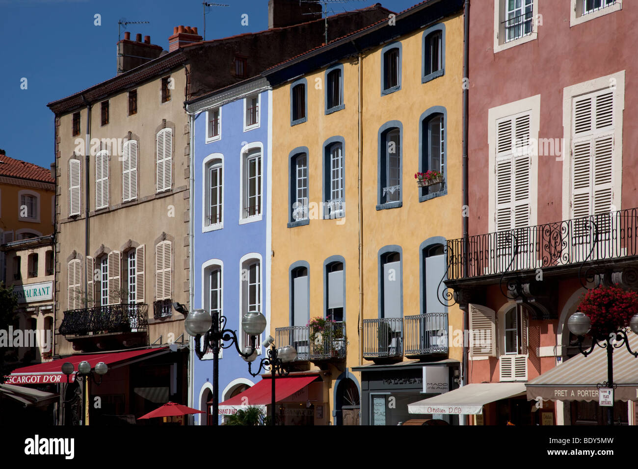 houses around Marketplace Issoire, Auvergne, France - Stock Image