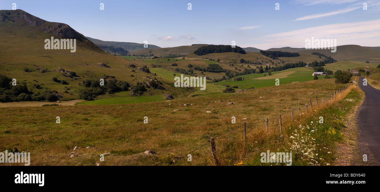 Panoramic view over high plains of Pay de Dome in central masstif area of the Auvergne, France - Stock Image
