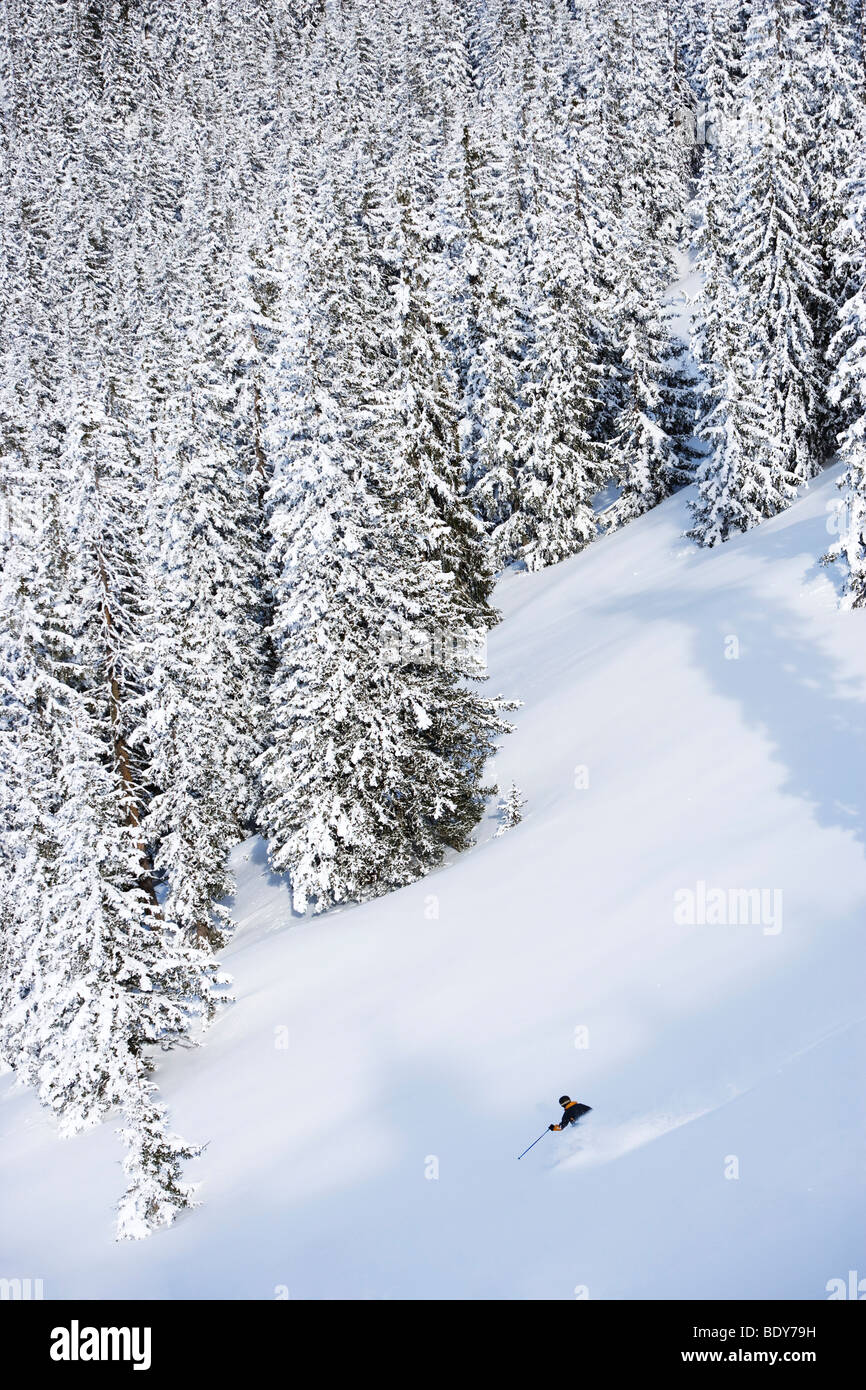 Man deep in backcountry. - Stock Image