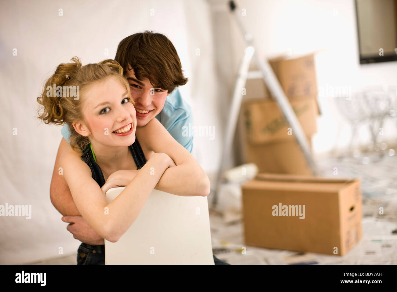 Removal; First love; move together - Stock Image