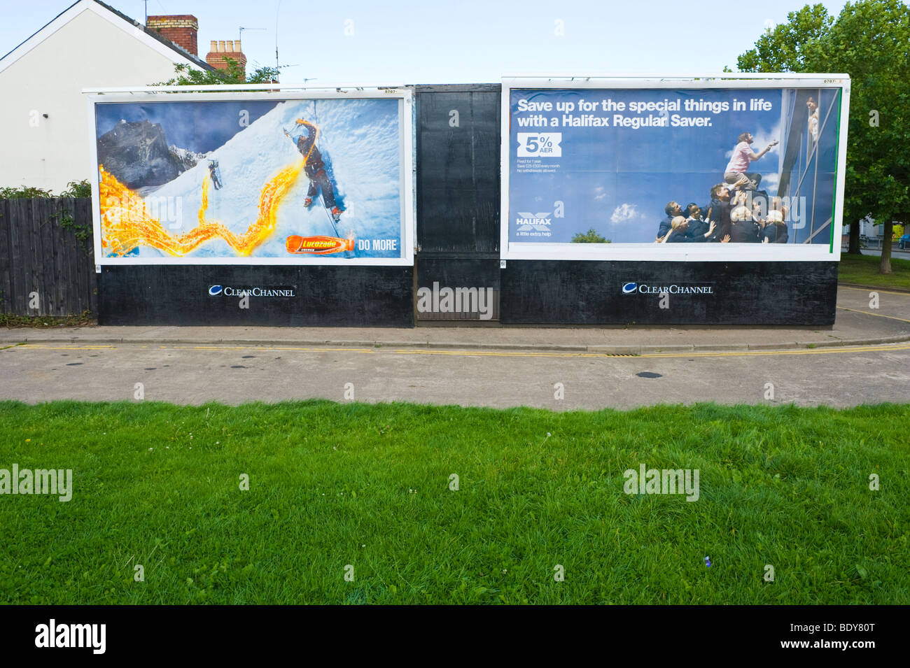 ClearChannel billboards for Lucozade and Halifax Bank in UK - Stock Image