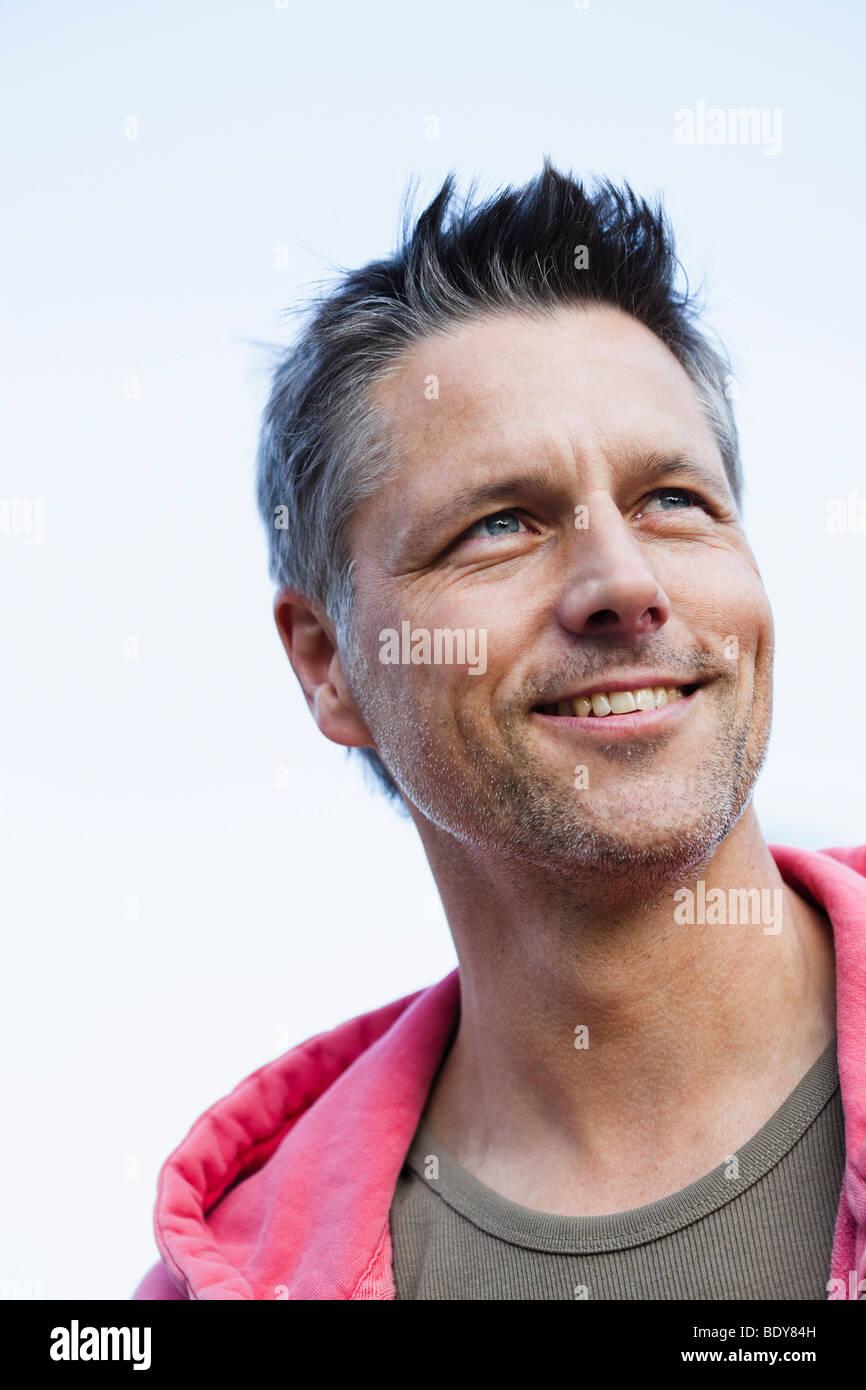 Man Wearing Hoody - Stock Image