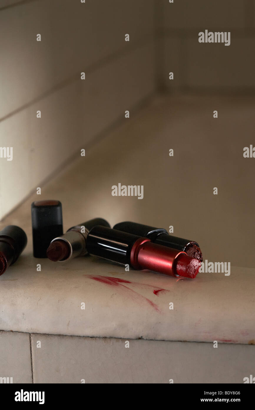 Old lipsticks - Stock Image