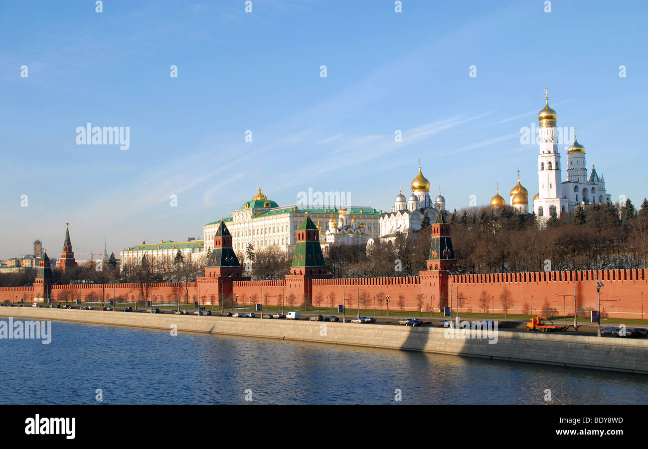 Landscape of the Kremlin Wall and Moscow river - Stock Image